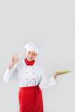 Beautiful professional chef woman. Stock Images