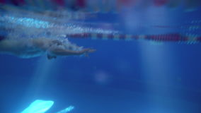 Beautiful professional swimmer doing butterfly stroke in pool with rich blue water, shot from underwater stock video