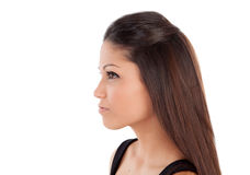 Beautiful profile of brunette woman Stock Photos