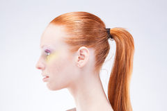 Beautiful profile of red-haired woman Royalty Free Stock Image