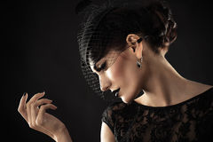 Beautiful profile of retro woman Stock Images