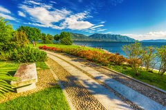 Beautiful promenade along the Lago Maggiore lake near Locarno, Switzerland Royalty Free Stock Image