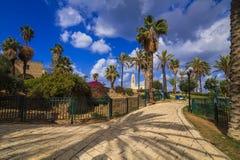 A beautiful promenade with palm alley. Jaffa, Tel Aviv. Royalty Free Stock Image