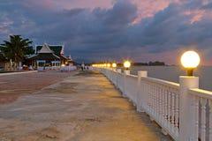 Beautiful promenade at sunset. Beautiful promenade at the sea in Thailand Stock Photo