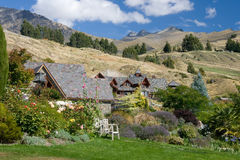 Beautiful property on a hills. Beautiful village in an outskirt of Queenstown, Central Otago, New Zealand stock photography