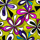 Beautiful psychedelic graffiti flowers seamless background Royalty Free Stock Photography