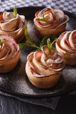 Beautiful puff pastry with apples close-up vertical Royalty Free Stock Photos
