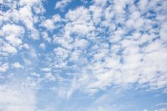 Beautiful bright summer sky and clouds. Beautiful puffy white clouds on a blue clear sky. Perfect summer weather stock photography