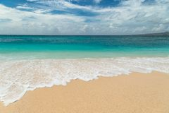 Beautiful Puka beach and blue sky at Boracay Island, Philippines. royalty free stock images