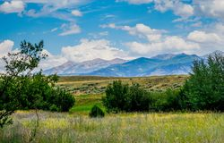 A Beautiful Pull Off Area. On our way to Yellowstone National Park in Wyoming stock images
