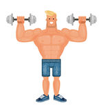 Beautiful pumped up bodybuilder man doing exercises with dumbbells and smiling, flat vector Royalty Free Stock Image