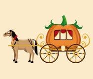 Beautiful pumpkin carriage horse fantastic tale Royalty Free Stock Photos