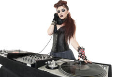 Beautiful punk DJ over white background Royalty Free Stock Photo