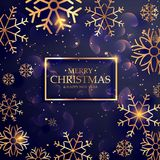Beautiful purple background with golden snowflakes for merry chr. Istmas Stock Images