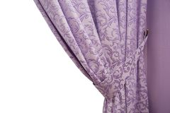 Beautiful purple curtain in a classic style. isolated Royalty Free Stock Photo