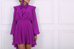 Beautiful purple dress with bows Stock Images