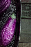 Beautiful Purple Eggplant on Wooden Background Stock Images