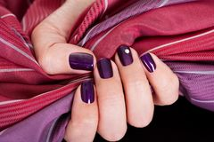 Beautiful purple female nails Stock Images