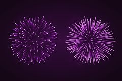 Beautiful purple fireworks set. Bright fireworks isolated black background. Light pink decoration fireworks for. Christmas, New Year celebration, holiday Royalty Free Stock Photo