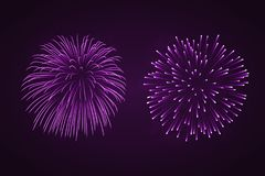 Beautiful purple fireworks set. Bright fireworks isolated black background. Light pink decoration fireworks for. Christmas, New Year celebration, holiday Royalty Free Stock Images