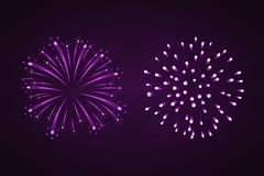 Beautiful purple fireworks set. Bright fireworks isolated black background. Light pink decoration fireworks for. Christmas, New Year celebration, holiday Stock Image