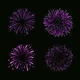 Beautiful purple fireworks set. Bright fireworks isolated black background. Light pink decoration fireworks for. Christmas, New Year celebration, holiday Royalty Free Stock Photography