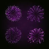 Beautiful purple fireworks set. Bright fireworks isolated black background. Light pink decoration fireworks for. Christmas, New Year celebration, holiday Stock Photography