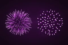 Beautiful purple fireworks set. Bright fireworks isolated black background. Light pink decoration fireworks for. Christmas, New Year celebration, holiday Stock Photo