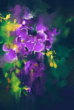 Beautiful purple flowers in dark background. With oil painting style Royalty Free Stock Photos