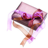 Beautiful purple gift box with bow Stock Photography