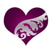 Beautiful purple heart with ornament Royalty Free Stock Photos