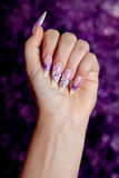 Beautiful purple manicure Royalty Free Stock Image