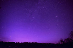 Beautiful purple night sky with many stars Stock Photography