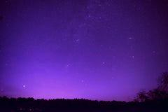 Beautiful purple night sky with many stars Stock Photography