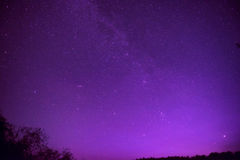 Beautiful purple night sky with many stars Royalty Free Stock Photo