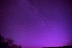 Beautiful purple night sky with many stars Royalty Free Stock Photo