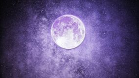 Beautiful Purple Night Sky With Many Stars And Bright Full Moon. Beautiful purple night sky with moon and stars royalty free stock image