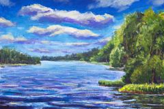 Beautiful purple river, Large clouds against blue sky, green river banks, Belarusian lake Original Oil Painting on canvas. Colorfu. Original oil painting royalty free illustration
