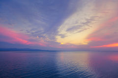Beautiful purple sea sunset. Stock Photos