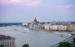 Beautiful purple sunset on Danube and Hungarian Parliament Royalty Free Stock Photos