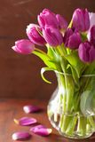 Beautiful purple tulip flowers bouquet in vase Royalty Free Stock Photos