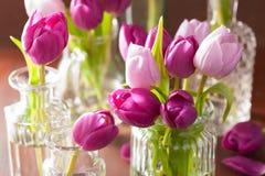 Beautiful purple tulip flowers bouquet in vase Stock Photos