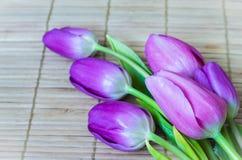 Beautiful purple tulips on bamboo mat Stock Photos