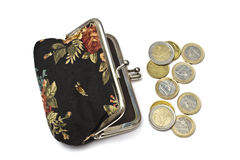 Beautiful purse with euro coins Stock Photo
