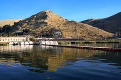 Beautiful pyramid and titicaca lake in Puno, Peru Peruvian andes Stock Images