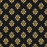 Beautiful queen seamless pattern with fleur de lys ornament elements on dark background. Royal signs in style of fashion illustrat Royalty Free Stock Images