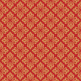 Beautiful queen seamless pattern with fleur de lys ornament elements on red background. Royal signs in style of fashion illustrati Royalty Free Stock Image