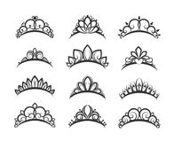 Beautiful queen tiaras set stock illustration