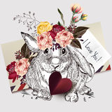 Beautiful  rabbit holding red heart and roses. I love you. Greeting cute rabbit holding red heart and roses. I love you Royalty Free Stock Photography