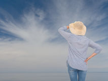 Woman against sky. Looking to the future concept. royalty free stock images